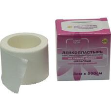 Лейкопластырь фиксирующий на тканой основе шелковый 3 см х 500 см гипоаллергенный