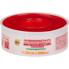 Лейкопластырь  на тканой основе / хлопковый / пласт. футляр / белого цвета, 1,25 см х 500 см