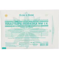 Лейкопластырь фиксирующий медицинский  на нетканой основе,  пластырь - повязка NW I.V, водонепроницаемый, с впитывающей прокладкой, 6 см х 8 см