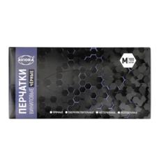 Перчатки виниловые, черные, неопудренные, Aviora, одноразовые, размер M, 100 шт