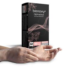 Перчатки виниловые Benovy прозрачные 100 шт размер M