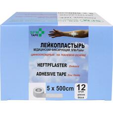 Лейкопластырь SFM Plaster Тканевая основа 5,0 х 500 см 12 шт