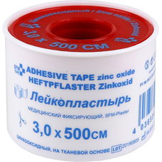 Лейкопластырь SFM Plaster Тканевая основа 3 х 250 см /пластиковая упаковка/ 12 шт